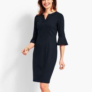 Talbots Ponte Embroidered Dress 10 Flounce Sleeve